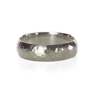 Simple hammered 18K Palladium white gold wedding band handmade by artist Kendra Renee