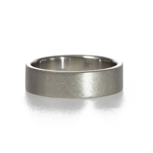 Simple palladium wedding band with matte finish handmade by artist Kendra Renee