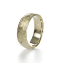 14K gold rugged textured wedding band handmade by artist Kendra Renee