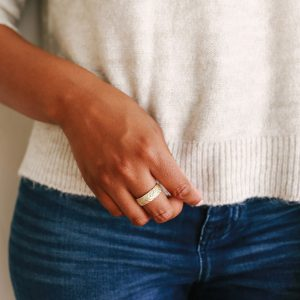 Wide textured wedding band by Kendra Renee
