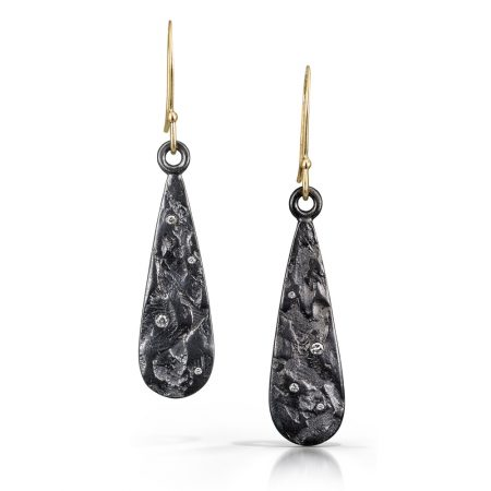 Silver, gold and diamond earrings by Kendra Renee