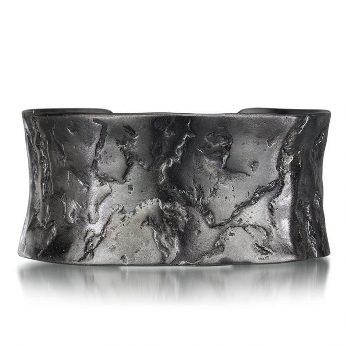 Textured silver cuff bracelet by Kendra Renee