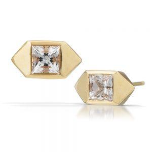 Handmade gold and topaz earrings by Kendra Renee