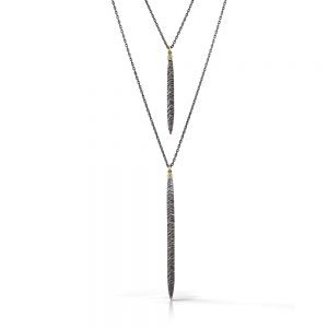 Silver, gold, and diamond double necklace