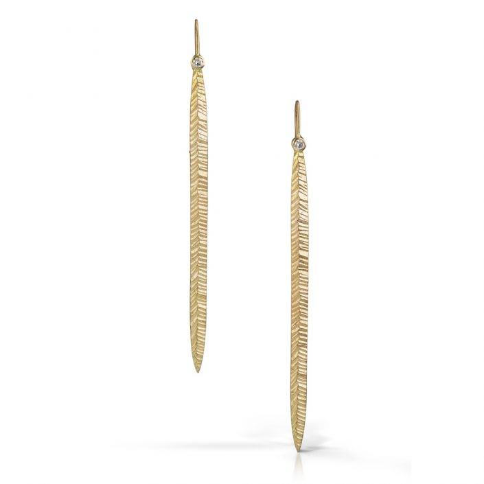 Solid gold and diamond stiletto earrings by Kendra Renee