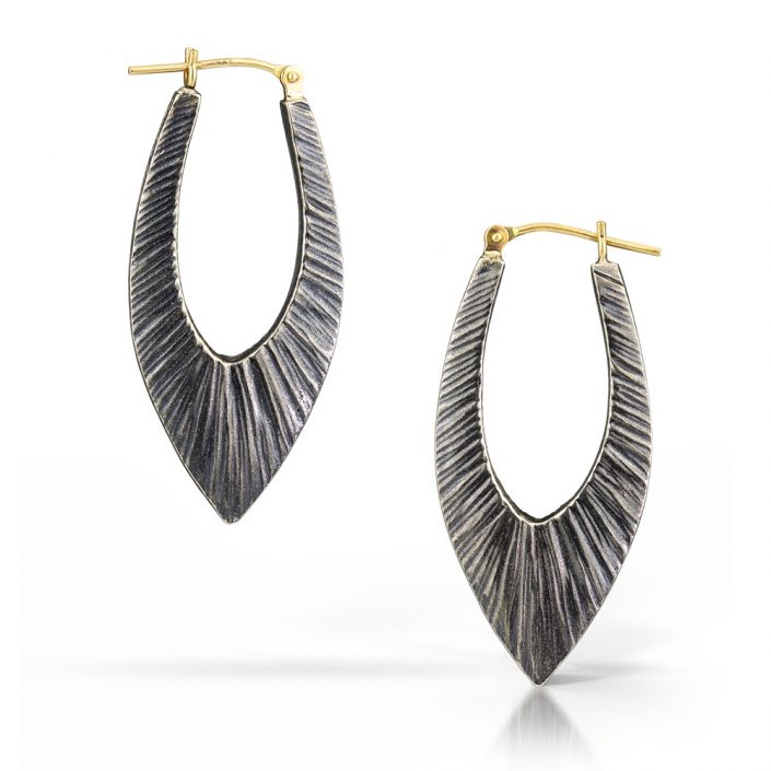 Textured Hoop Earring in gold and silver