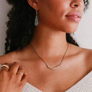 Rustic textured earrings with diamonds by Kendra Renee