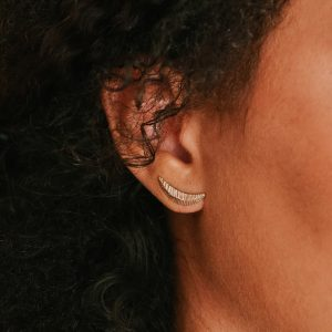 Crescent ear climbers in 14K gold