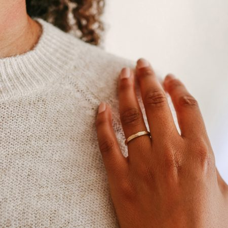 Slim, geometric wedding band by Kendra Renee