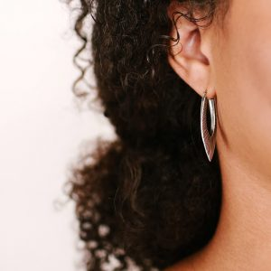 Rustic hoop earrings in gold and silver by Kendra Renee