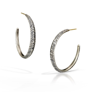 Silver and Gold Rustic Hoop Earrings by Kendra Renee